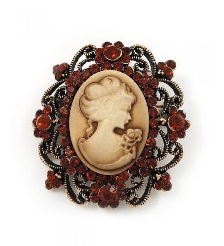 Antique Amber Coloured Diamante Brooch