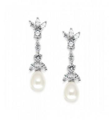Mariell Zirconia Freshwater Bridal Earrings
