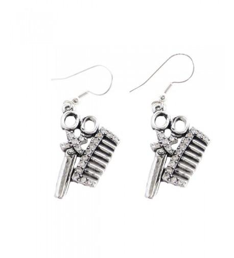Stylist Crystal Scissors Fashion Earrings