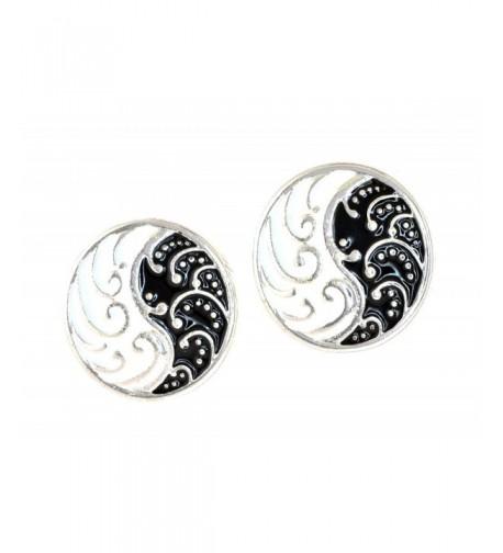Siver tone Waves Black Enamel Earrings
