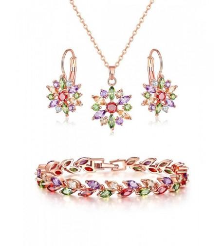 Lujuny Necklace Earring Bracelet Set