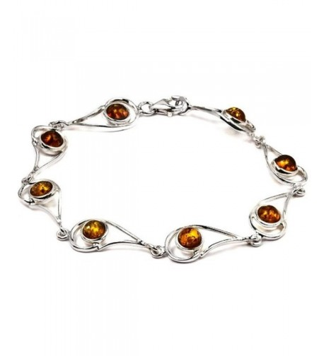Sterling Silver Amber Bracelet Inches