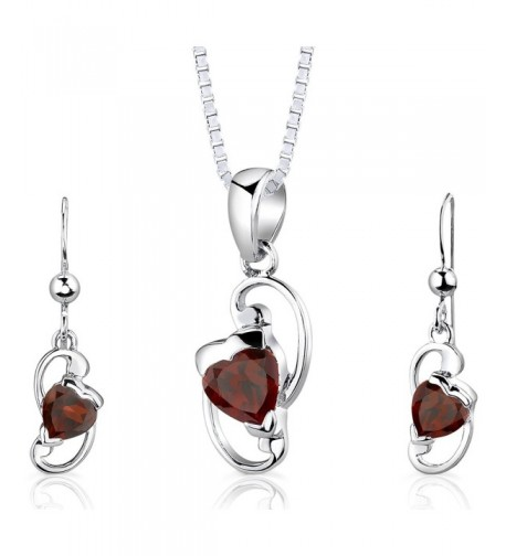 Garnet Pendant Earrings Sterling Rhodium