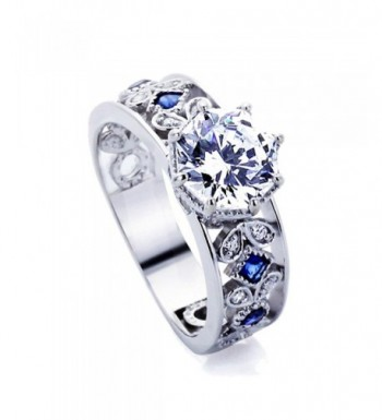 Sterling Simulated Sapphire Accent Engagement