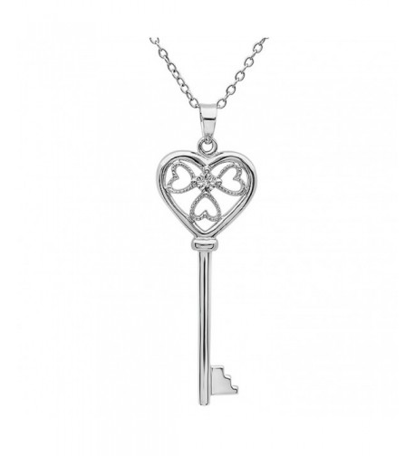 Diamond Heart Pendant Necklace Sterling Silver