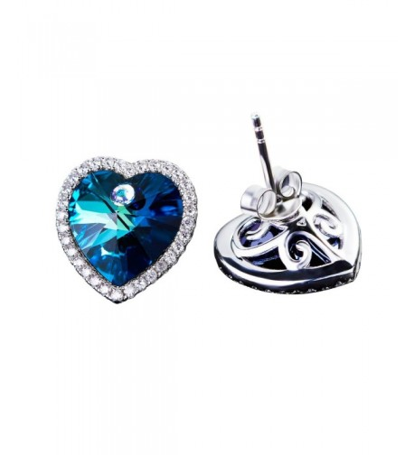 Blue Swarovski Crystal heart Earrings