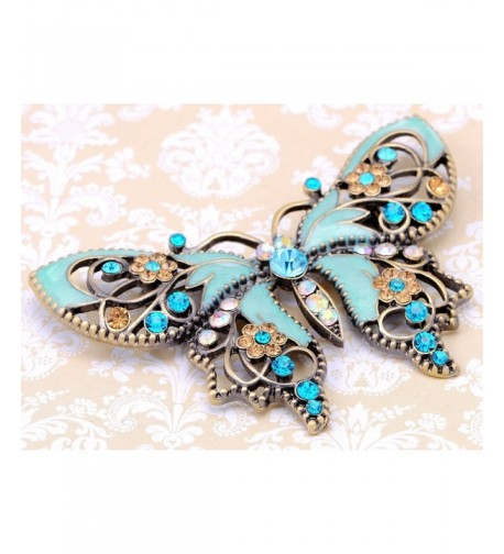 Alilang Antique Aquamarine Rhinestones Butterfly