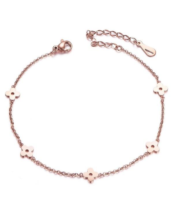 Shegrace Flower Bead Chain Anklet For Women Rose Gold Anklet