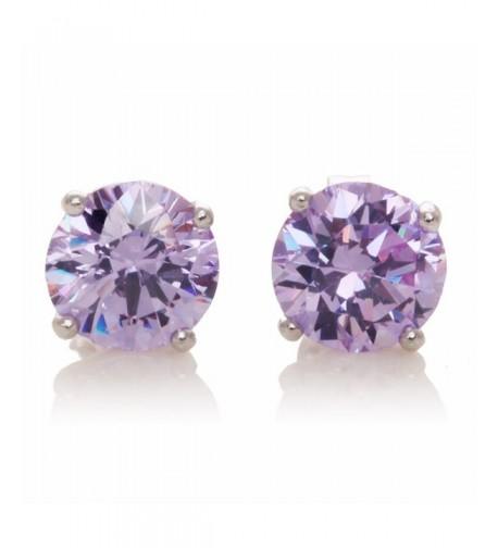 Sterling Silver Violet Setting Earrings