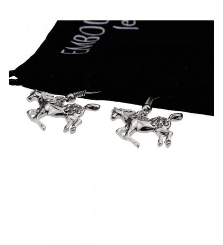 Galloping Prancing Crystal Earrings Jewelry