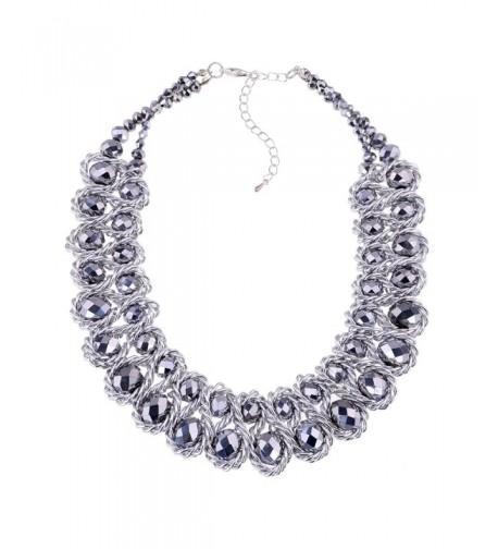 Jewelry Platinum Crystal Statement Necklaces