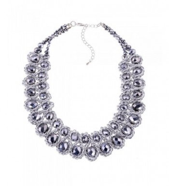 Jewelry Platinum Crystal Statement Necklaces