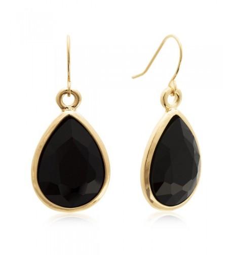 Black Crystal Dangle Earrings Yellow