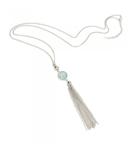 Y Shaped Tassel Necklace Sparkly Stainless