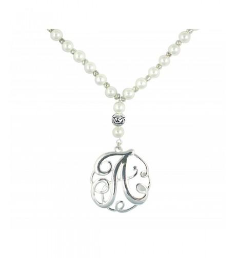 Monogram Silver Charm Glass Necklace