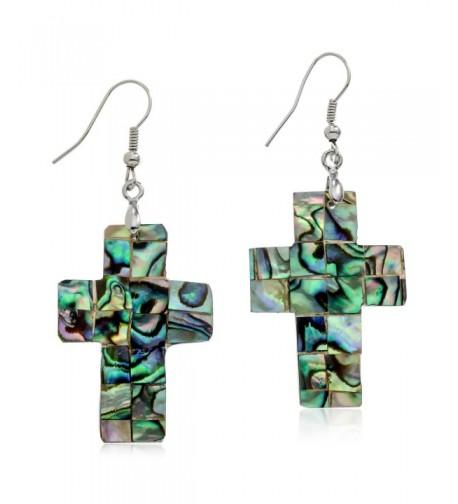 Abalone Cross Silvertone Dangle Earrings
