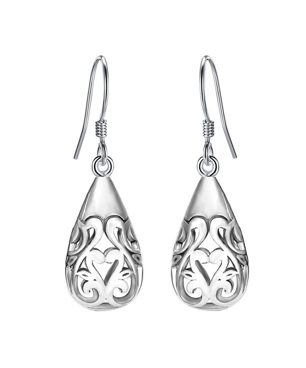 f5e876d7d ... Women's 925 Sterling Silver Bali Inspired Heart Filigree Puffed  Teardrop Dangle Hook Earrings C617X3KM6EG. EVER FAITH Sterling Inspired  Filigree