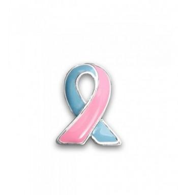 Pink Blue Ribbon Lapel Pin
