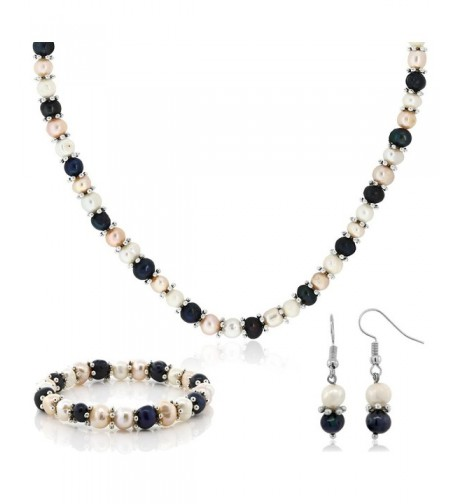Multi Color Cultured Freshwater Necklace Earrings