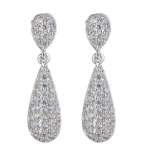 EleQueen Zirconia Teardrop Earrings Silver tone