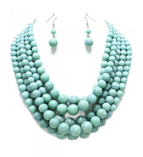 Statement Turquoise Stone simulated Necklace Earrings