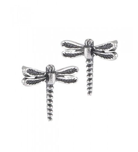 Sterling Silver Garden Dragonfly Earrings
