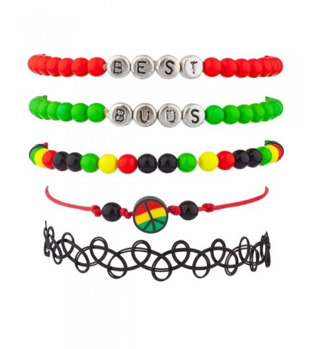 Lux Accessories Marijuana Rasta Bracelet