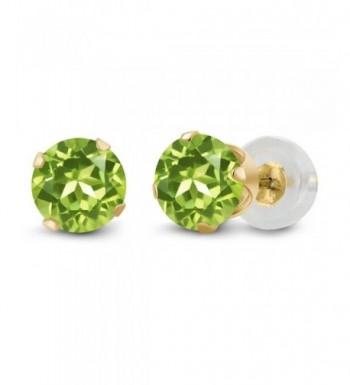 Round Peridot Yellow 4 prong Earrings