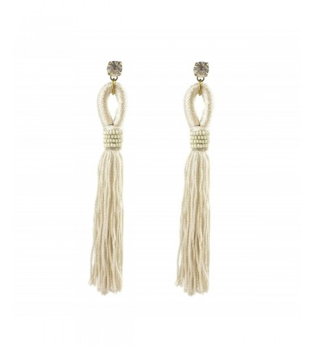 Tassel Fringe Drop Earrings White