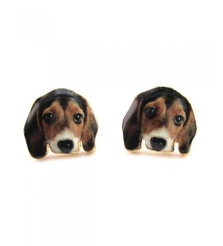 Daisies Beagle Portrait Earrings Jewelry