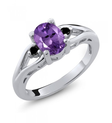 Purple Amethyst Diamond Sterling Stone