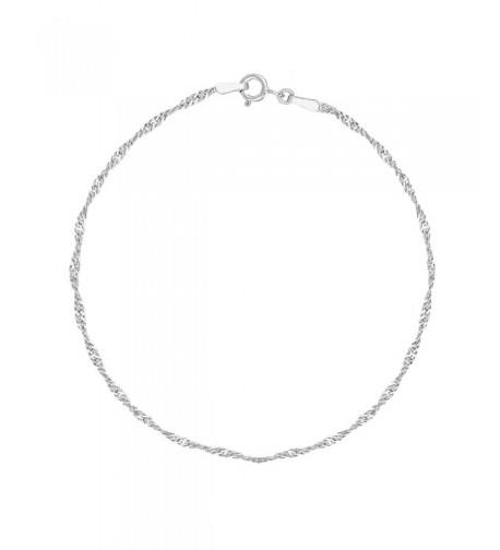 Sterling Silver Singapore Sparkle Anklet