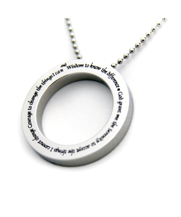 Serenity Prayer Disc Pendant Necklace