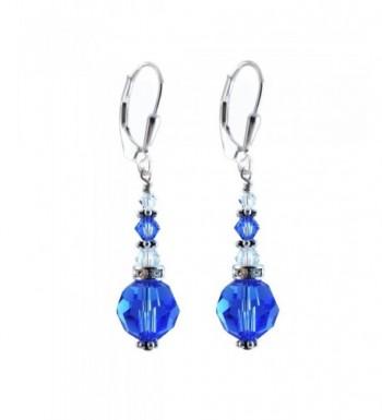 Sapphire Earrings Swarovski Elements Lever back