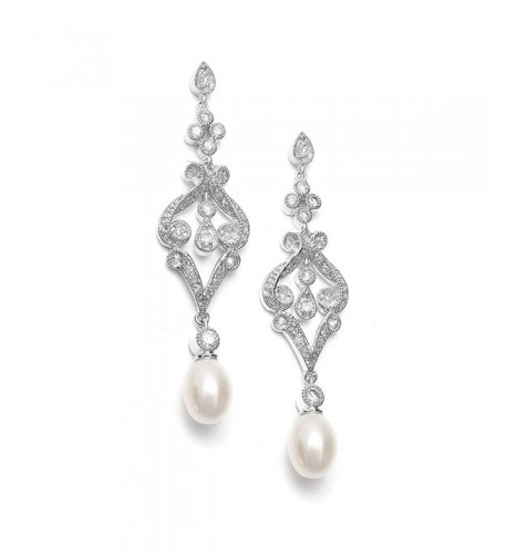 Mariell Vintage Zirconia Earrings Freshwater