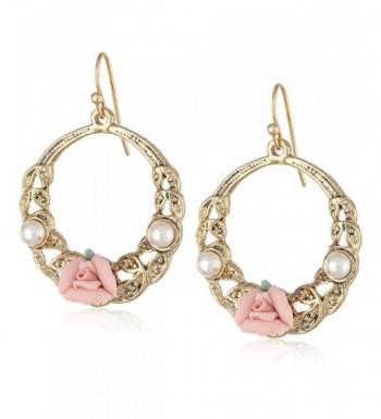 1928 Jewelry Gold Tone Rose Earrings