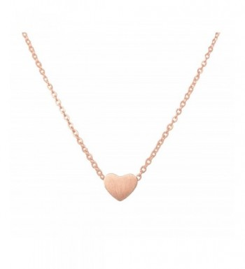 1cfca882a9ba6 Simple Heart Necklace for Her- Pendant Love Choker (Gold- Silver- Rose  Gold) Rose Gold C71884Y08EH