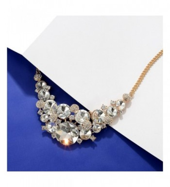 23eb81aa66262 Womens Rhinestone Chunky Choker Necklace Crystal Gold Jewelry Gifts for  Bridal Wifes White C0184T3OL64