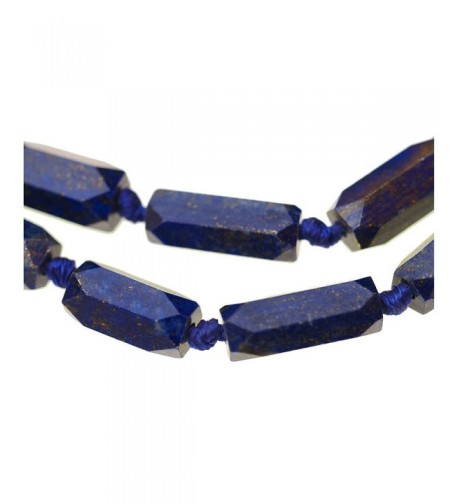 Lazuli 6 Sided Graduated Knotted Necklace