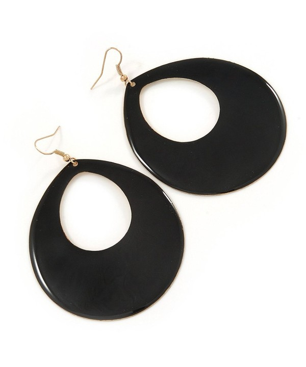 Large Black Enamel Oval Earrings