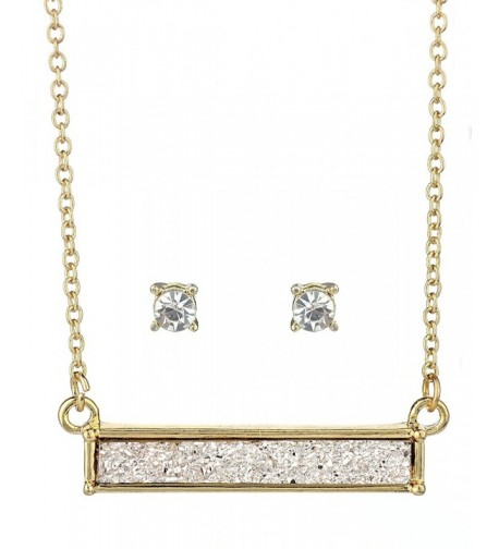 Womens Pendant Necklace Earrings Gold Tone