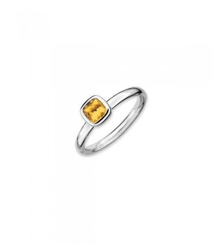Silver Stackable Cushion Citrine Solitaire