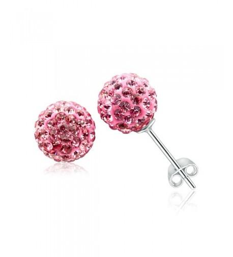 Crystal Ball Earrings Sterling Studs