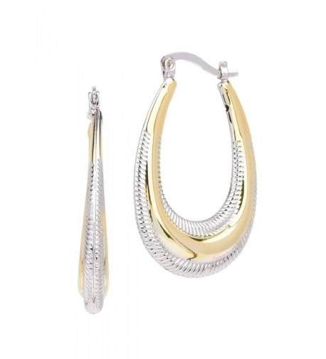 Tone Textured Long Oval Earrings