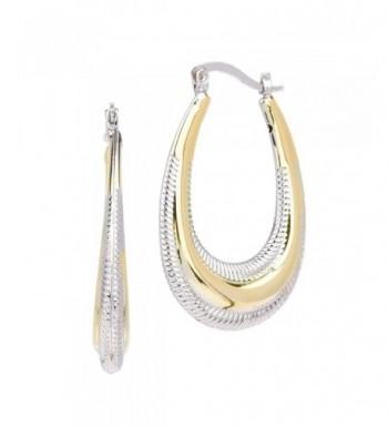Tone Textured Long Oval Earrings