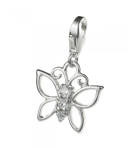 Rhodium Sterling Butterfly Crystal European