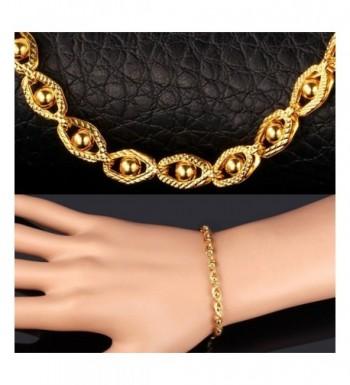 18k Stamp Gold Bracelet Bead Set Link Chain For Men