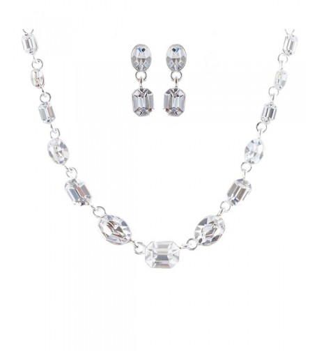 ACCESSORIESFOREVER Wedding Jewelry Rhinestone Necklace