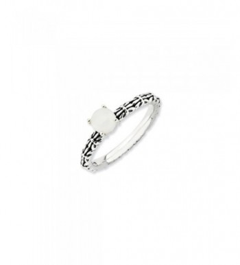 Antiqued Stackable White Agate Ring