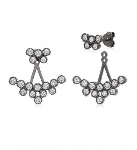 Sterling Zirconia Cluster Earring Rhodium